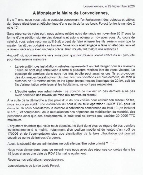 Texte petition novembre 2020